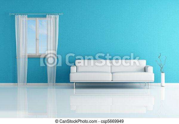 Blaues sofa, weißes zimmer. Blaues, windows, modern, -,... Stock ...