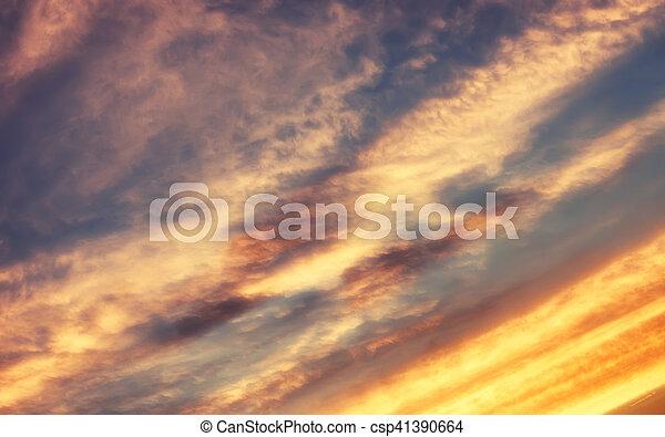 blaues, sonnenuntergangshimmel, weich, wolke - csp41390664