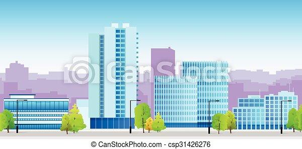 blaues, stadt, skylines, architektur, abbildung - csp31426276