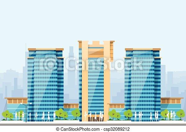 blaues, stadt, skylines, gebäude, modern, abbildung, architektur, cityscape - csp32089212
