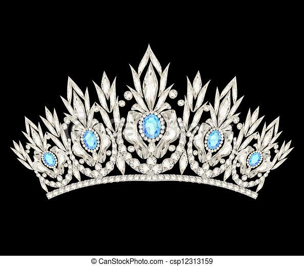 Tiara krönen die Hochzeit der Frauen mit einem hellblauen Stein - csp12313159