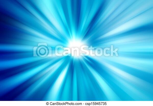 blaues, strahlen, licht, abstrakt, unscharfer hintergrund - csp15945735