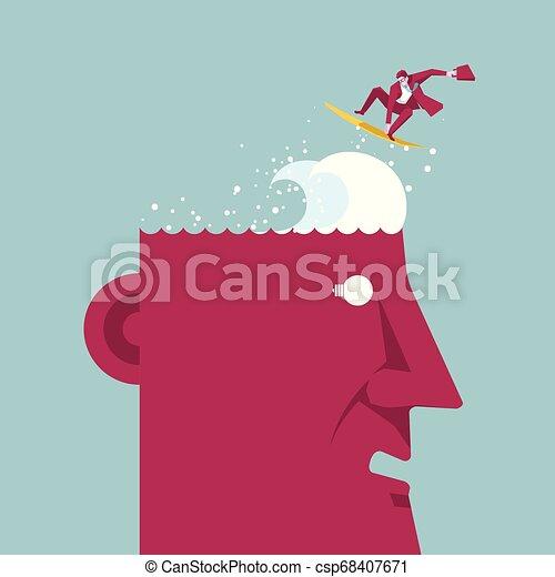 Geschäftsmann surft auf dem Kopf. Unter blauem Hintergrund. - csp68407671