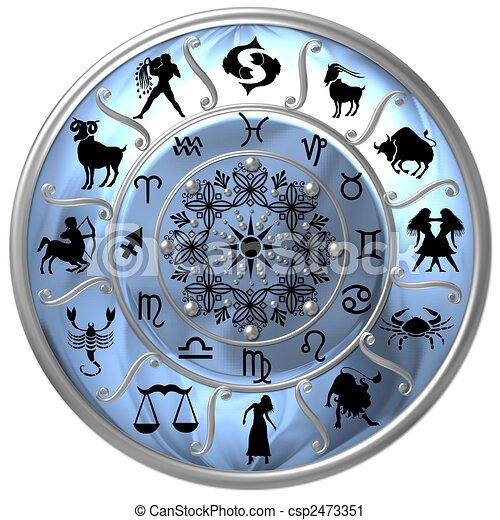 Blaue Zodiac-Disk mit Zeichen und Symbolen - csp2473351