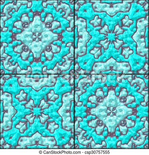 Blaues Turkis Muster Keramische Fliesen Beschaffenheit Seamless