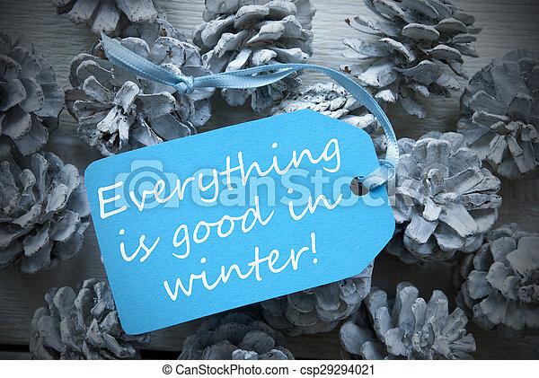 Hellblaues Etikett auf Fir Cones zitieren alles gute Winter - csp29294021