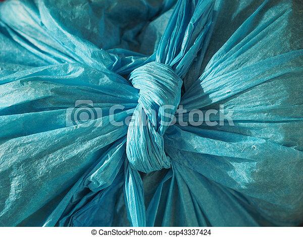 blaues, tasche, beschaffenheit, hintergrund, plastik - csp43337424
