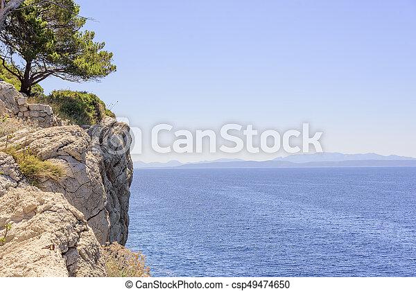 blaues, ufer, sea., kiefer, croatia. - csp49474650