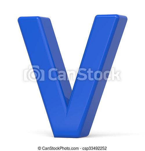 Blaues V 3d Brief Plastik Blauer Hintergrund Freigestellt