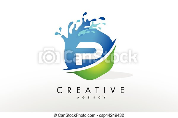 blaues vektor p spritzen gr252n brief design logo