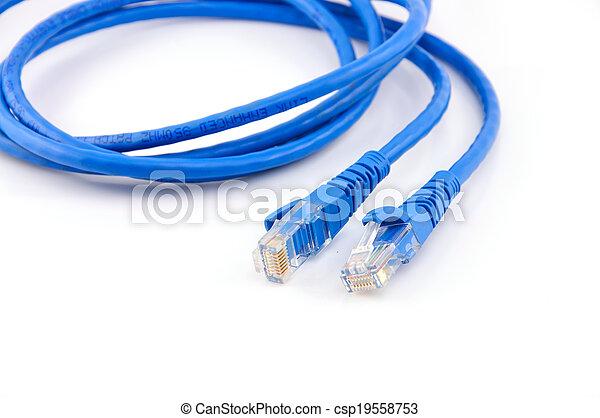 Blaues, vernetzung, kabel, verdreht, freigestellt, paar Stockbilder ...