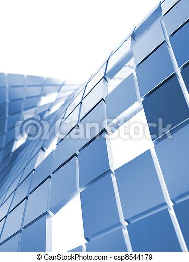 Hintergrund von blauen metallischen Würfeln auf einem weißen - csp8544179