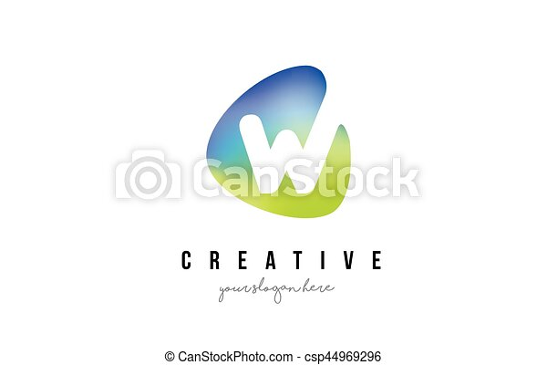 Blaues W Form Design Brief Logo Oval Grün Blaues Brief