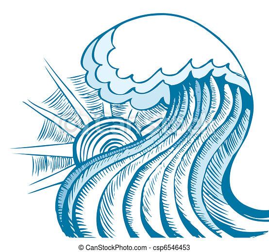 Abstrakte Welle. Vector Illustration des blauen Meeres - csp6546453