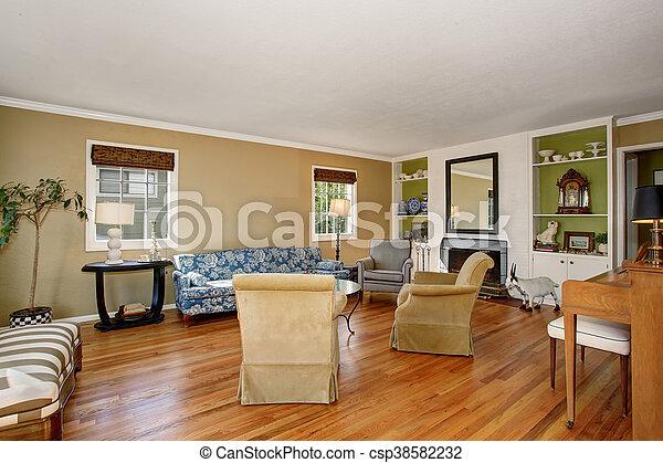 Blaues, wohnzimmer, boden, hartholz, klassisch, sofa., wände ...