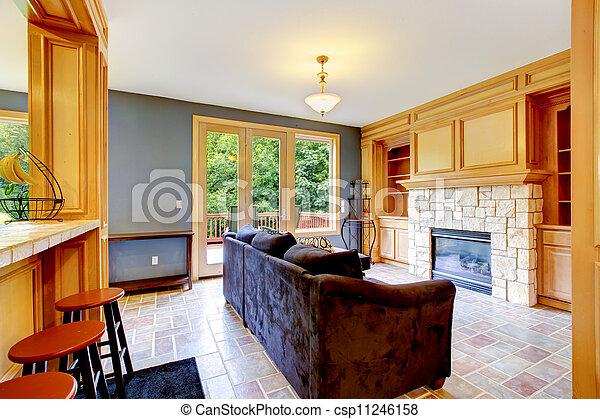 Blaues, wohnzimmer, brauner, sofa., wände, kaminofen. Blaues ...