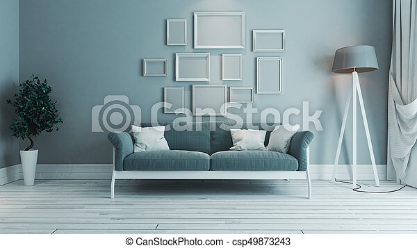 Blaues, wohnzimmer, farbe foto, rahmen, idee, design ...