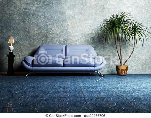 Blaues, wohnzimmer, sofa, modern, design, inneneinrichtung.... Stock ...