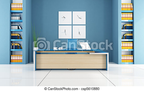 blaues, zeitgenössisches büro - csp5610880