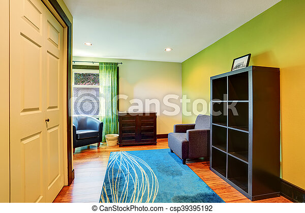 Blaues Zimmer Sitzen Farben Grün Inneneinrichtung Blaues