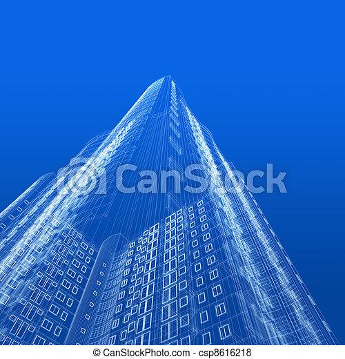 blaupause, architektur - csp8616218