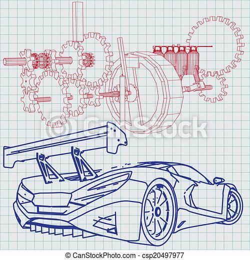Blaupause, auto, skizze, sport Vektoren Illustration - Suche Clipart ...