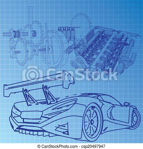 Blaupause, auto, skizze, sport EPS Vektor - Suche Clipart ...