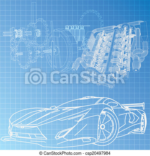Blaupause, auto, skizze, sport Vektor - Suche Clipart, Illustration ...