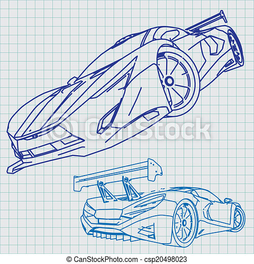 Blaupause, auto, skizze, sport Vektor Illustration - Suche Clipart ...