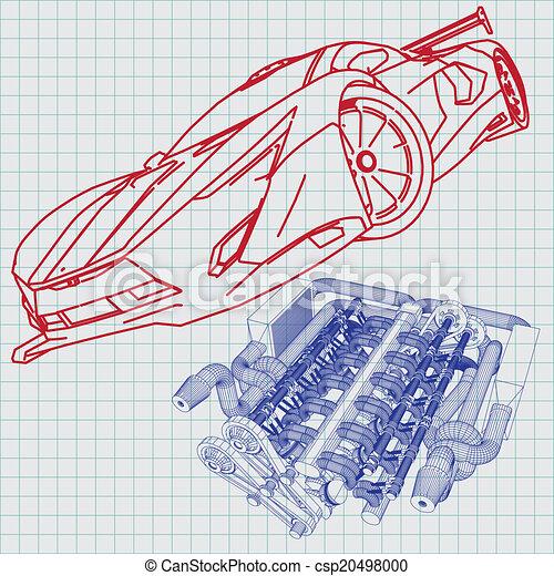 Blaupause, auto, skizze, sport Vektor Clipart - Suche Illustration ...