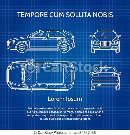 Blaupause, auto, vektor. Blaupause, image., auto, abbildung ...