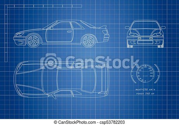 Blaupause, blaues auto, zeichnung, hintergrund., oberseite ...