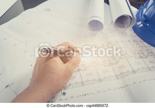 Blaupause, diagramm, skizze, zeichnen, projekt, technik,... Bild ...