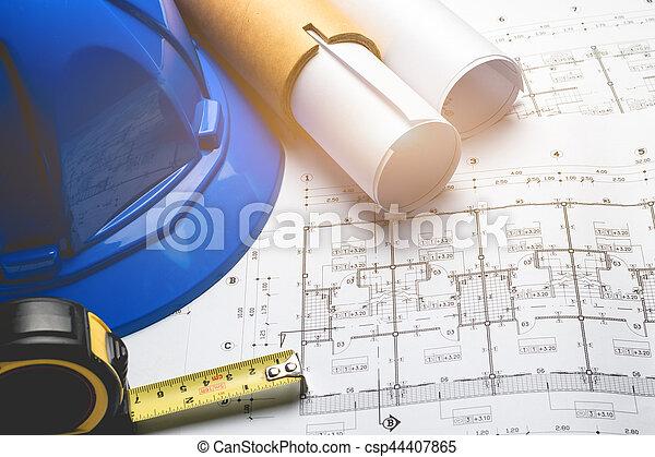 Blaupause, diagramm, skizze, zeichnen, projekt, technik, papier ...