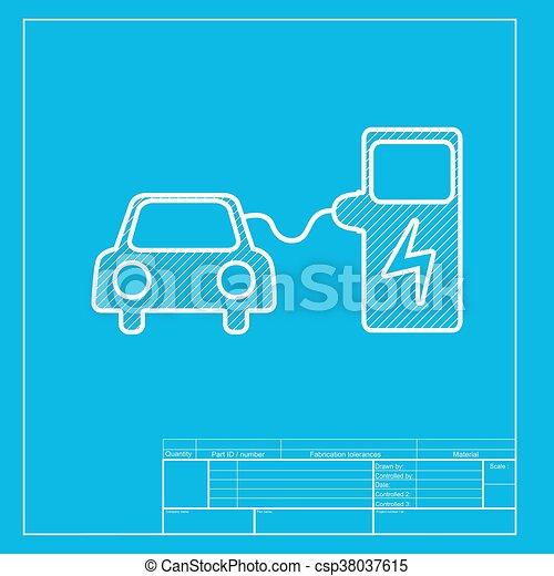 Blaupause, elektrisch, batterie, auto, zeichen., laden,... Vektor ...