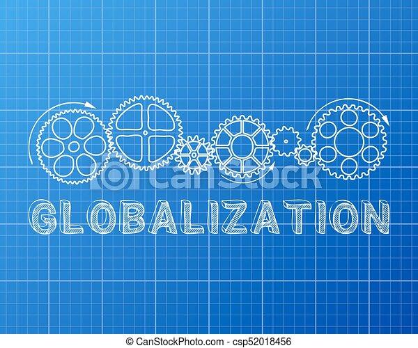 Blaupause, globalisierung. Blaupause, ausrüstung, text, hand ...