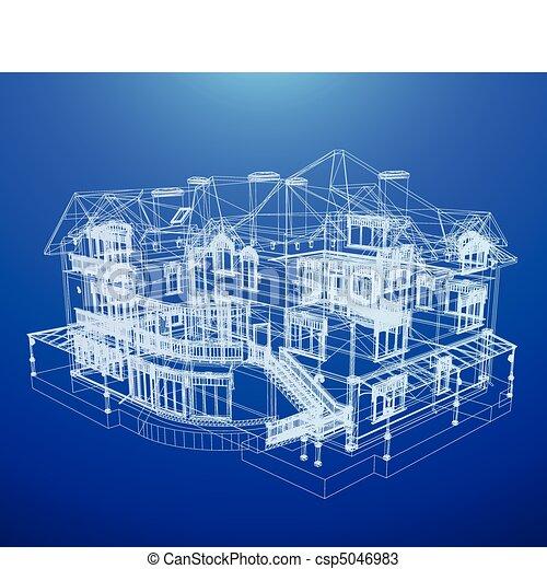 blaupause, haus, architektur - csp5046983