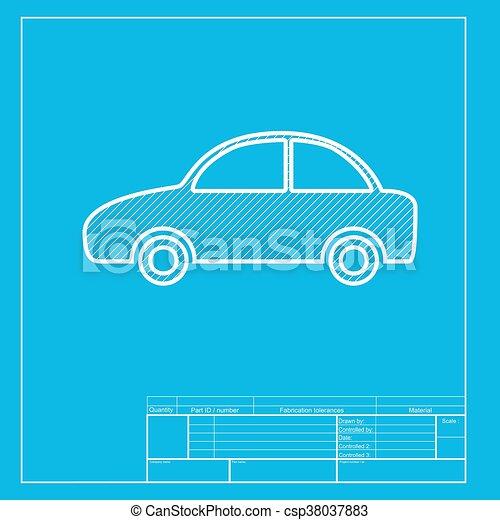 Blaupause, illustration., auto, abschnitt, zeichen, weißes ...