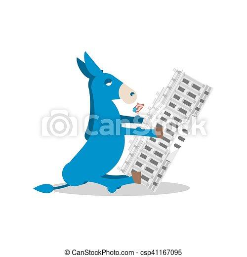 blauw gebouw, donkey., regering, winnen, house., democraat, verkiezingen, vlag, politiek, witte , amerika, presidentieel, usa. - csp41167095