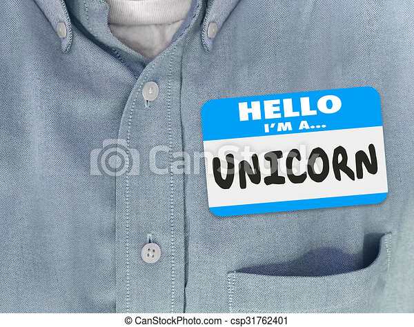 blauw hemd, label, eenhoorn, hallo, naam - csp31762401