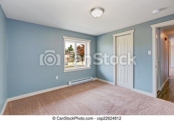 Blauw licht, kasten, slaapkamer. Blauwe , bruine , kamer ...