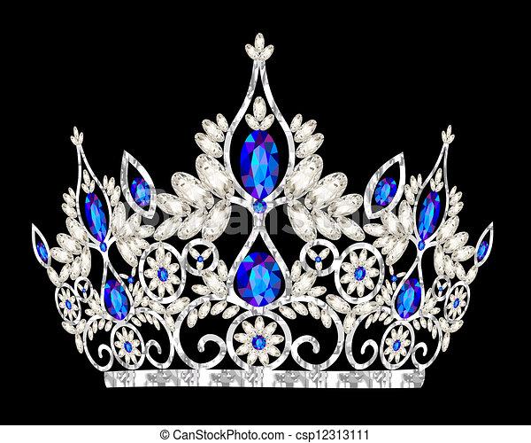 blauw stenig, kroon, vrouwen, trouwfeest, prinsessenkroon - csp12313111