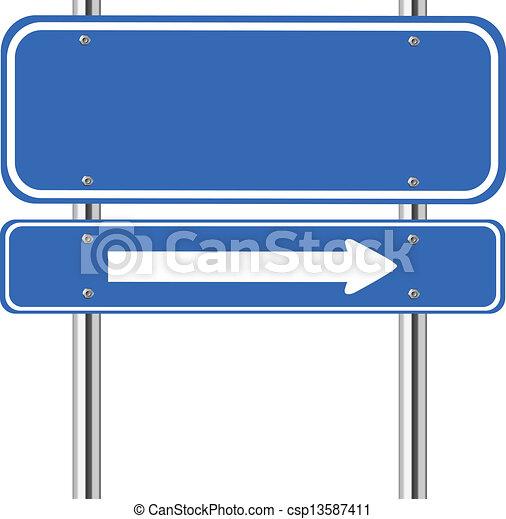 blauw teken, verkeer, richtingwijzer, leeg, witte  - csp13587411