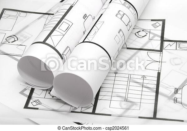 blauwdruken, architectuur - csp2024561