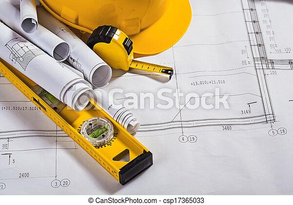 blauwdruken, werk aan werktuig, architectuur - csp17365033