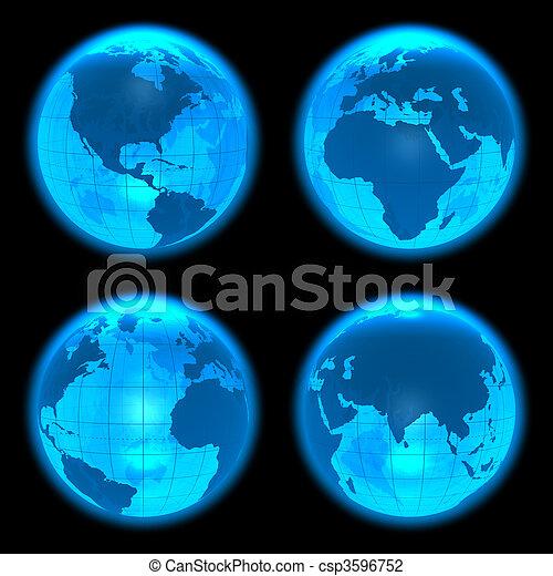 blauwe , aarde, gloeiend, set, bollen - csp3596752