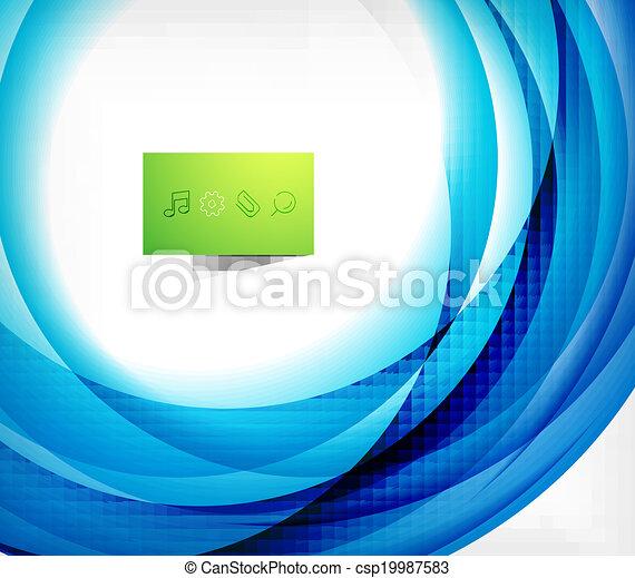 blauwe , abstract, golf, ontwerp, mal, kolken - csp19987583