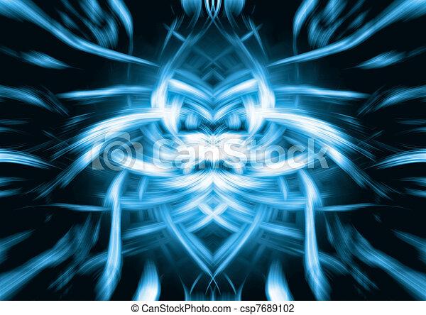 blauwe , abstract, leeuw, gezicht - csp7689102