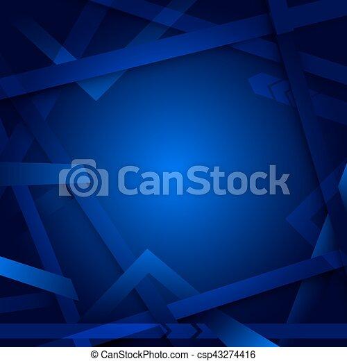 blauwe , abstract, lijnen, geometrisch, achtergrond - csp43274416