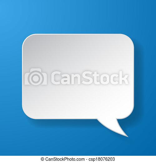 blauwe , abstract, papier, toespraak, achtergrond, bel - csp18076203